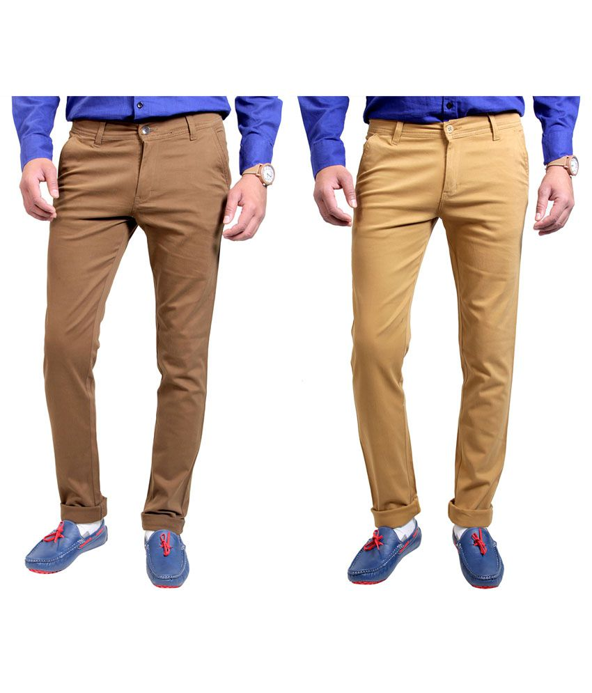 Routeen Brown Slim Chinos Trouser