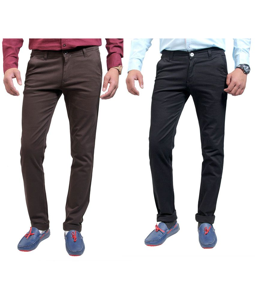Routeen Cotton Lycra Slim Fit Casual Chinos Trouser - Coffe - Black (pack of 2)