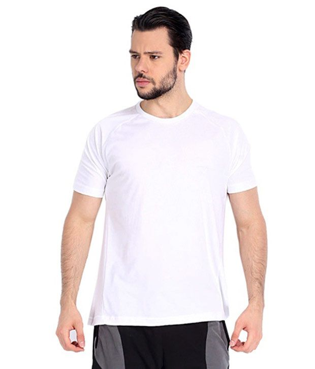 Habitus White Cotton Round Neck Half Sleeve T-shirt
