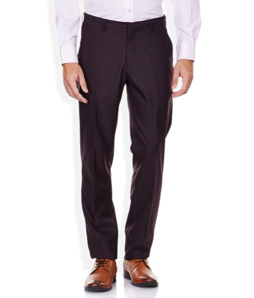 John Players Brown Skinny Fit Formal Trousers