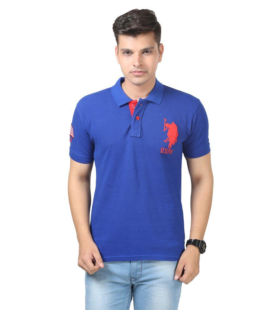 Uspa royal blue polo neck half sleeves t shirt buy uspa for What is polo neck t shirts