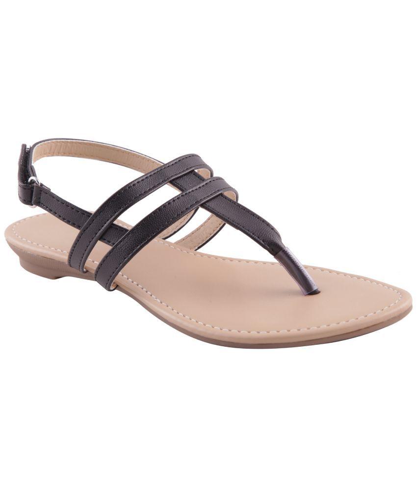 Adorn Black Faux Leather Flat sandals