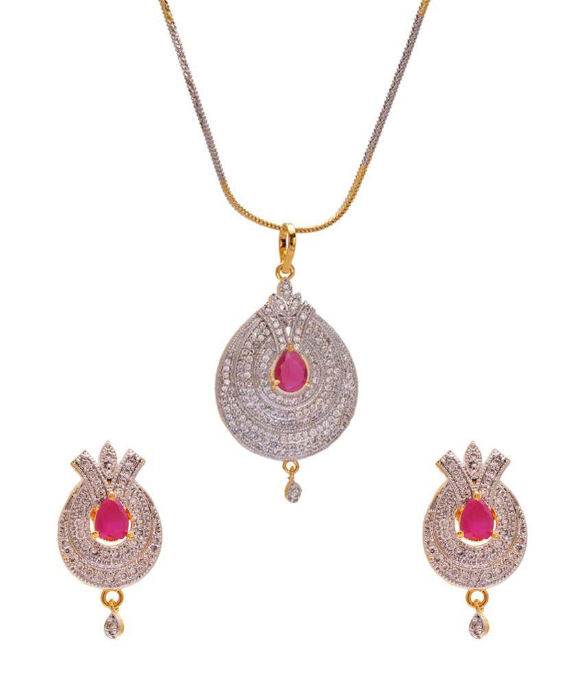 be990768162c11 Sagun Art & Jewellers Designer Rich Look American Diamond Gold Plated Pendant  Set With Center Ruby Cz Stone & Long Earrings: Buy Sagun Art & Jewellers ...
