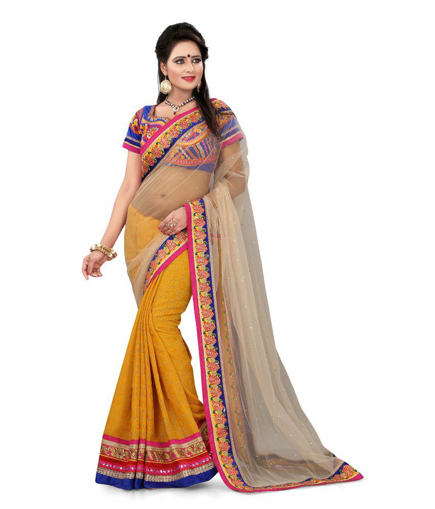 3NH Yellow Pure Georgette Saree
