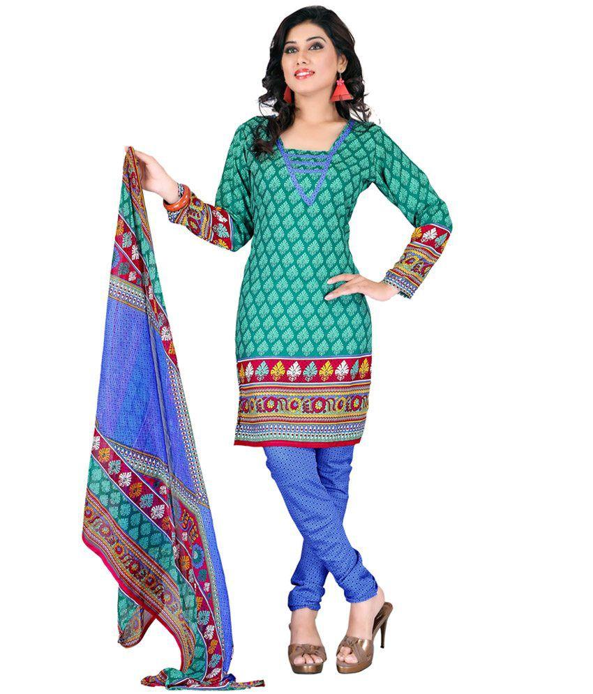 Mishi - Printed Turquoise Crepe Dress material