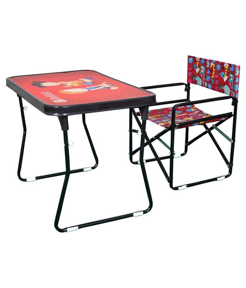 Steel craft red study table and chair set buy steel - Tables and chairs price ...