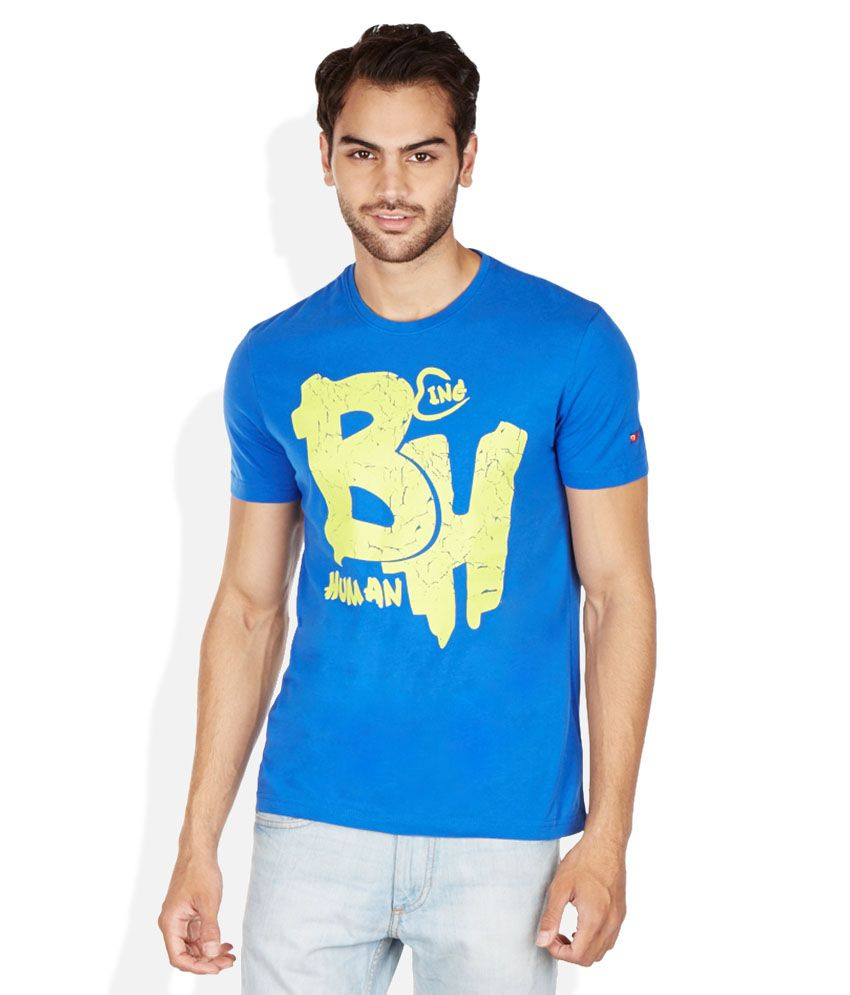 Being Human Blue Round Neck Printed T-Shirt