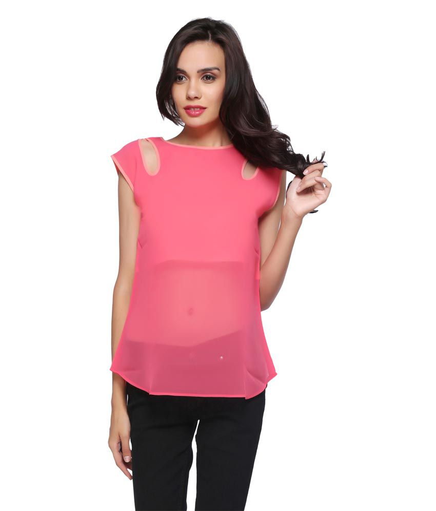 2c297e8b641b Delfe Pink Poly Georgette Tops - Buy Delfe Pink Poly Georgette Tops Online  at Best Prices in India on Snapdeal