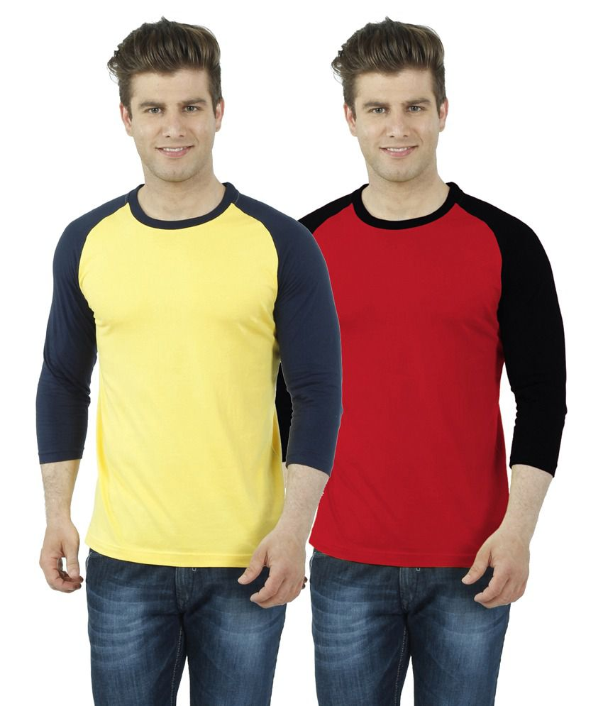 Eetee Red Cotton T-Shirt- Pack of 2