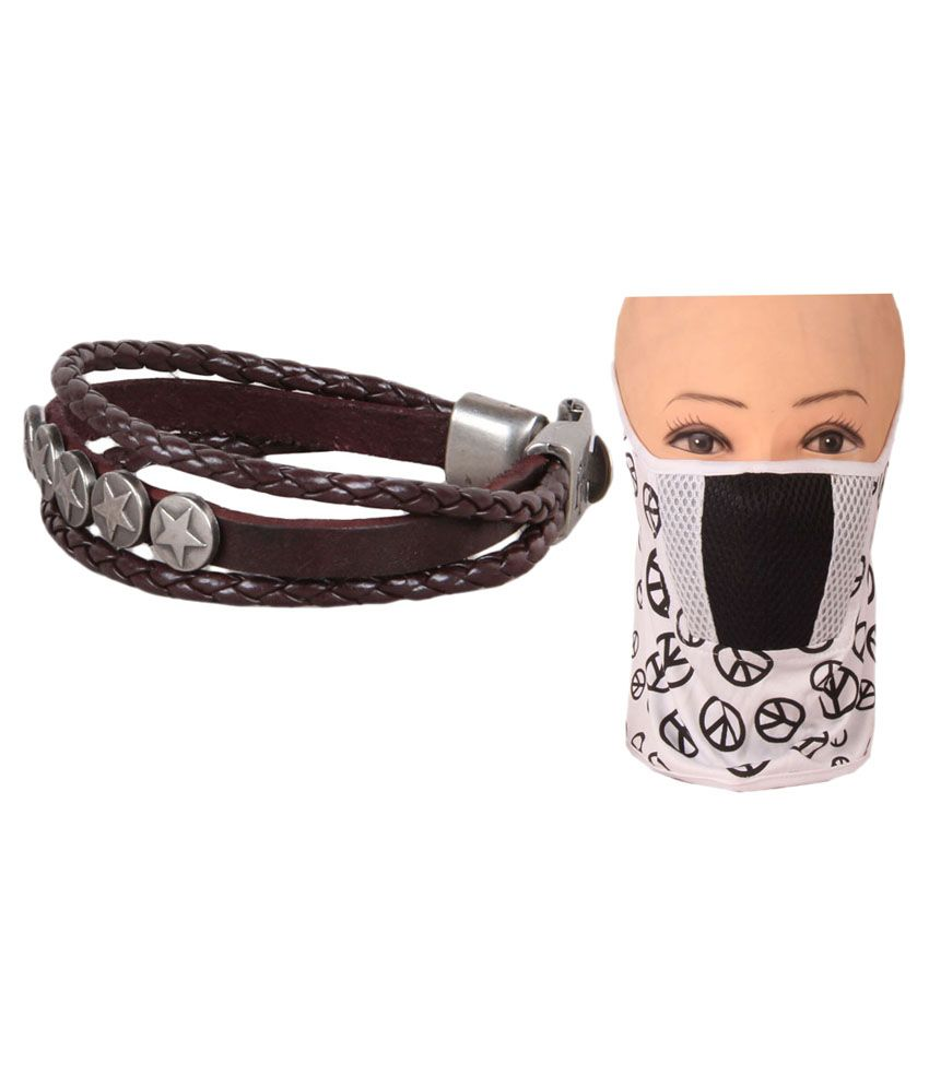 Jstarmart Brown Leather Fashion Wrist Band Combo Face mask