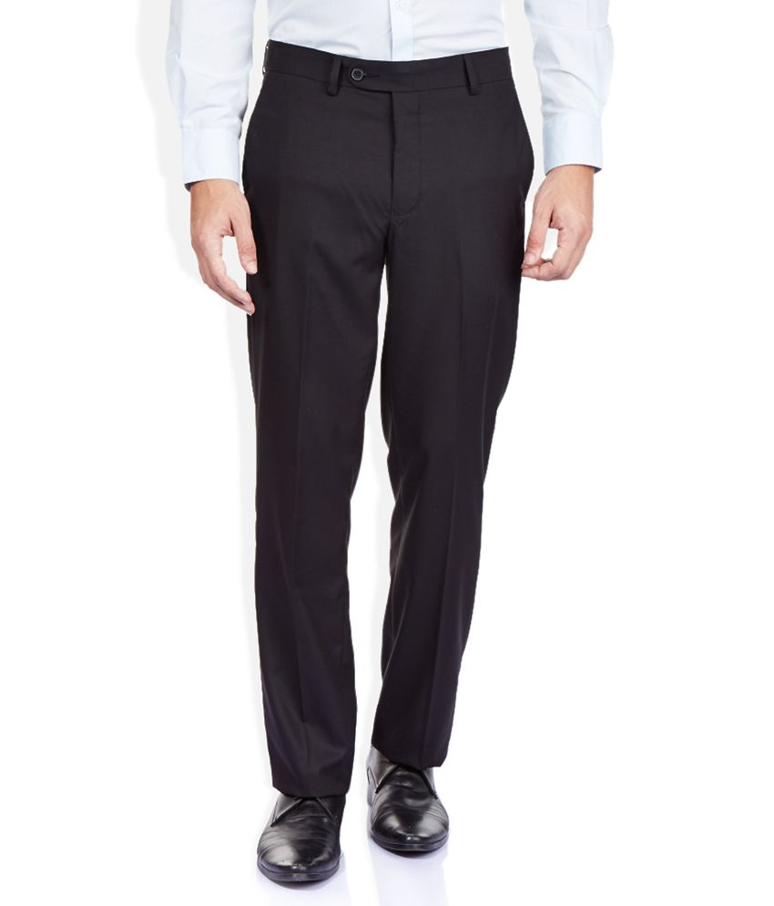 Turtle Black Regular Fit Trousers