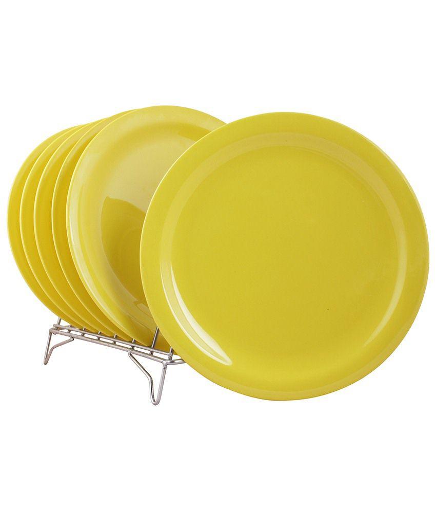 White Gold Yellow Melamine Dinner Plate Set Of 6
