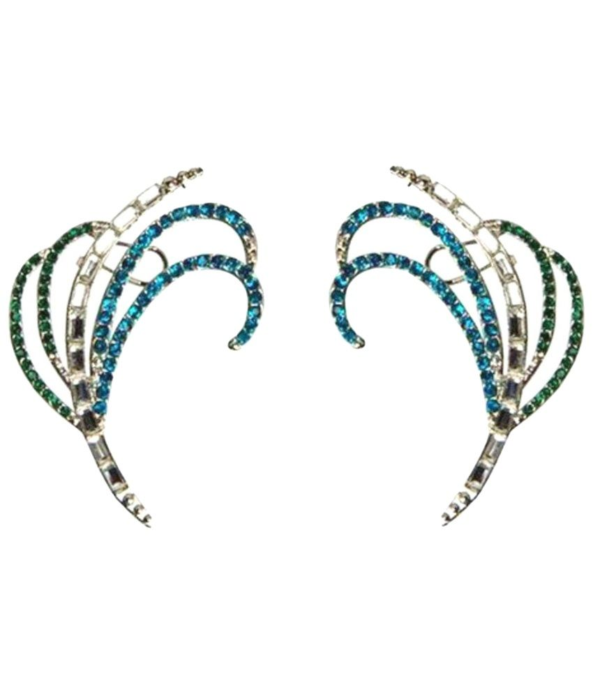 Crunchy Fashion Combo of Blue Ear Cuffs & Golden Stud Earrings