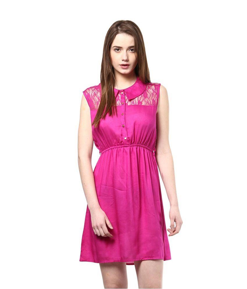 Prakum Pink Cotton Dresses