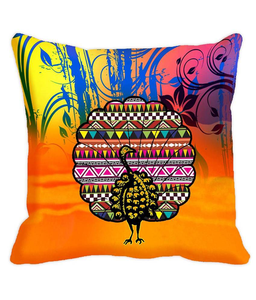 JDX Aabirah Orange & Yellow Digitally Printed Cushion Covers- Pack of 5