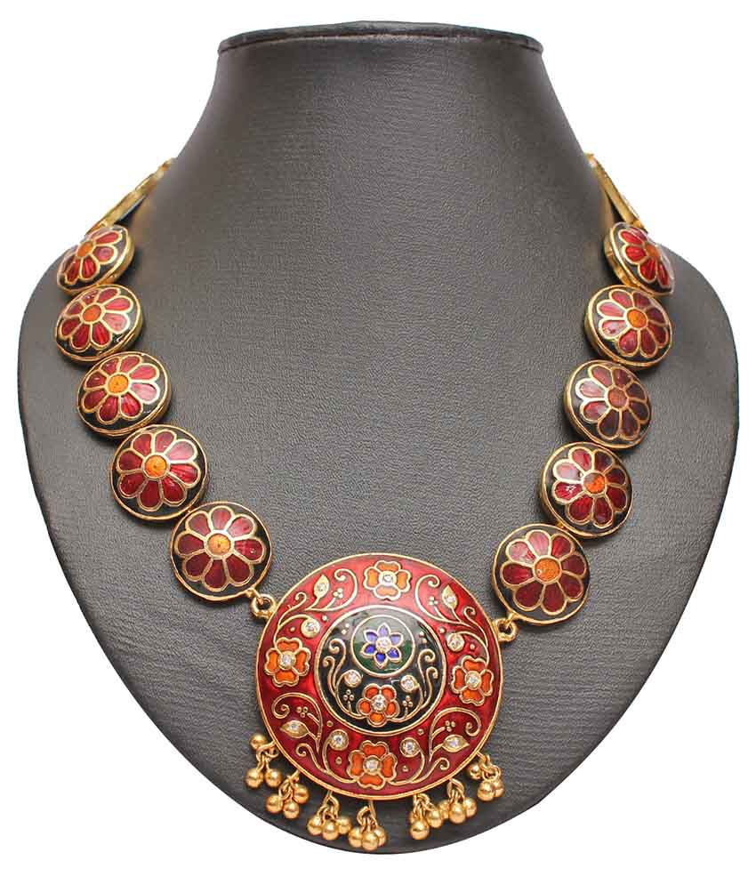 Slice Of Bengal Red Alloy Necklace Set