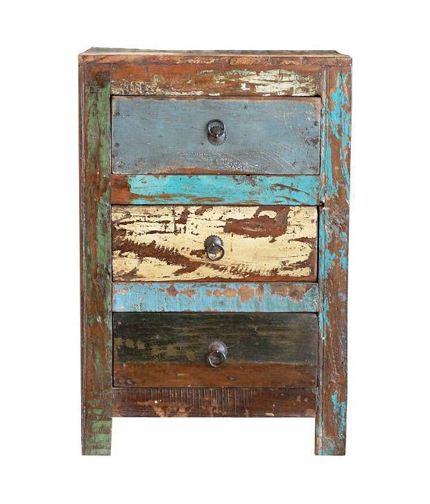 Dholpur Solid Wood Side Table with 3 Drawers