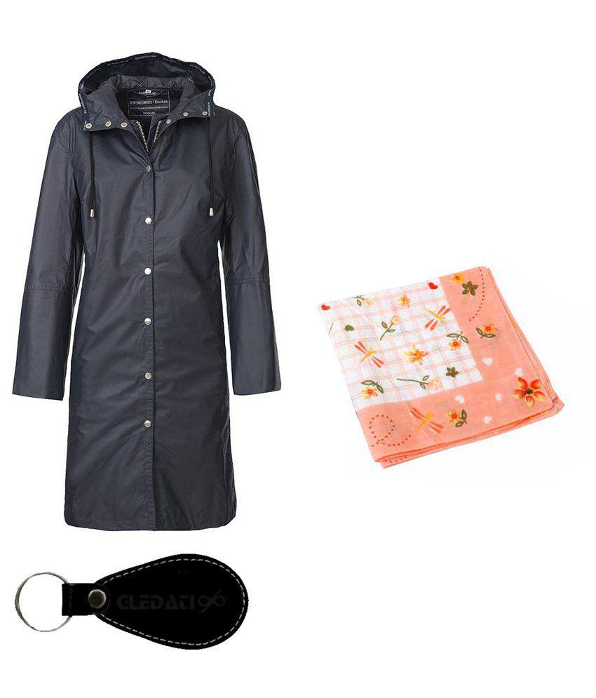 Gledati Black Polyester Combo Of Raincoat & Handkerchief
