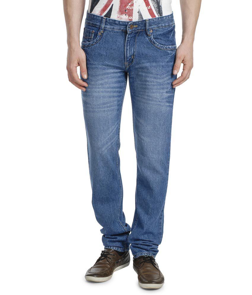 Lamode Blue Cotton Slim Fit Basics Jeans For Men