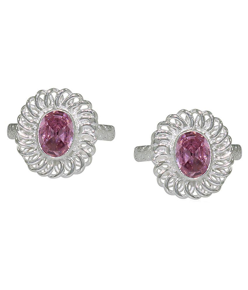 Pehchan Floral Pink German Silver Designer Toe Ring