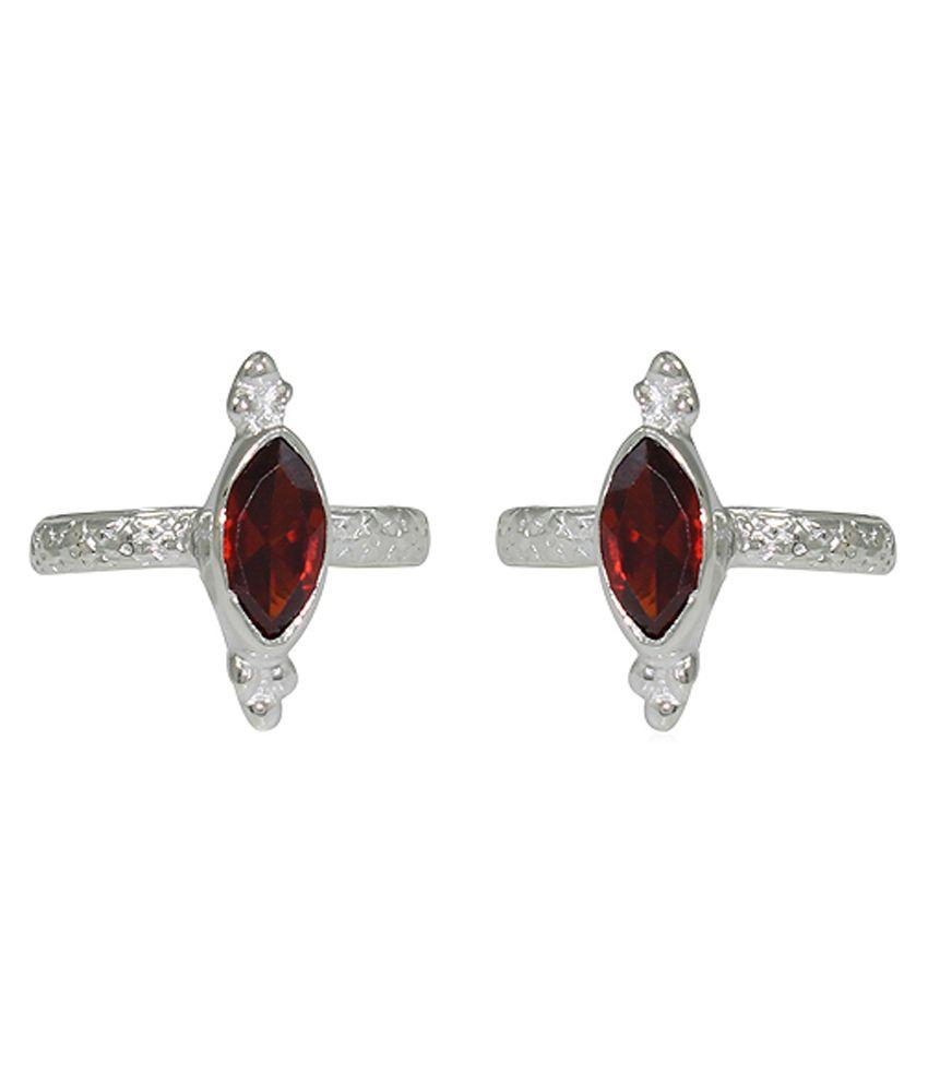 Pehchan Floral Red German Silver Designer Toe Ring