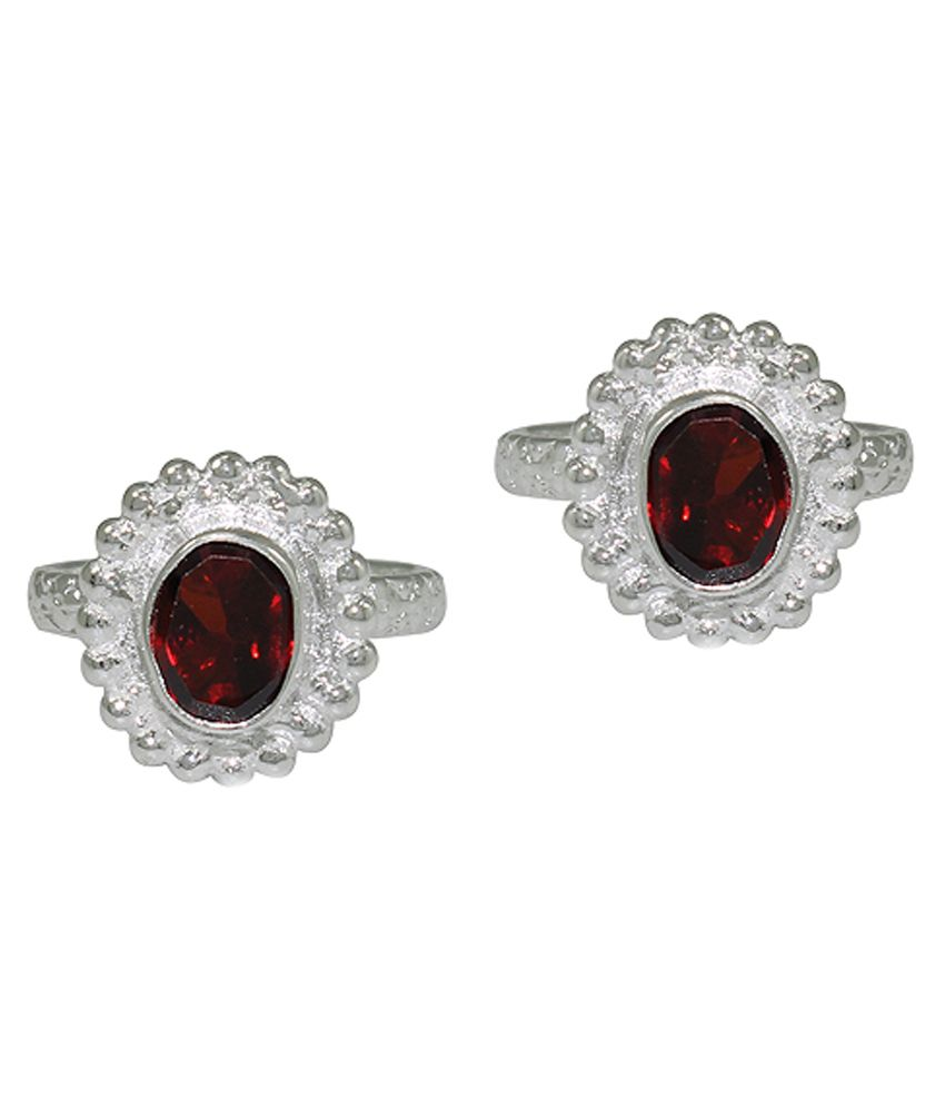 Pehchan Floral Red German Silver Designer Toe Ring