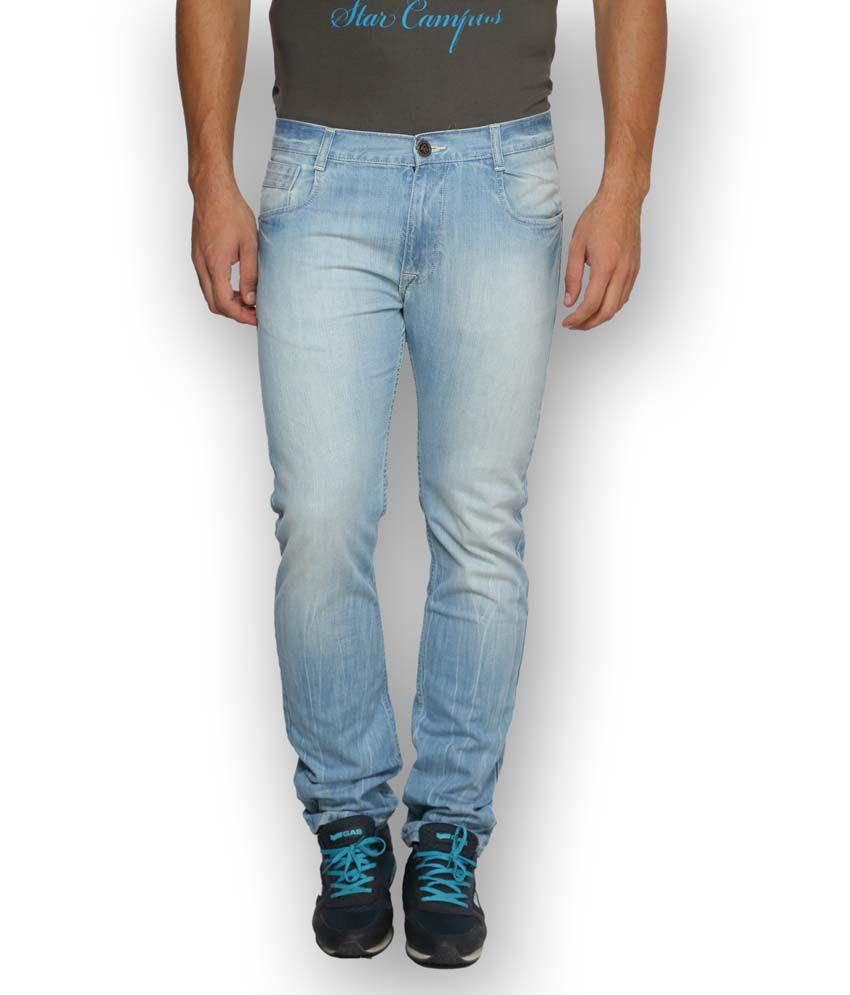 Ferrous Blue Cotton Slim Basics Jeans