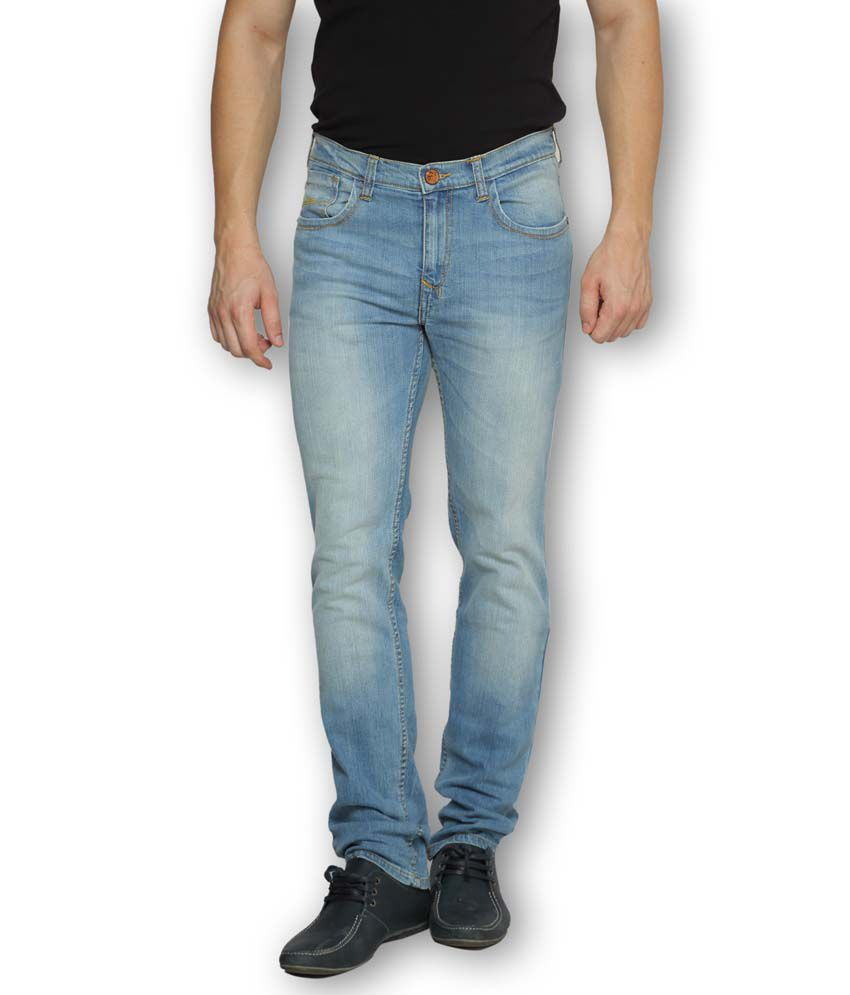 Ferrous Blue Cotton Slim Basics Jeans