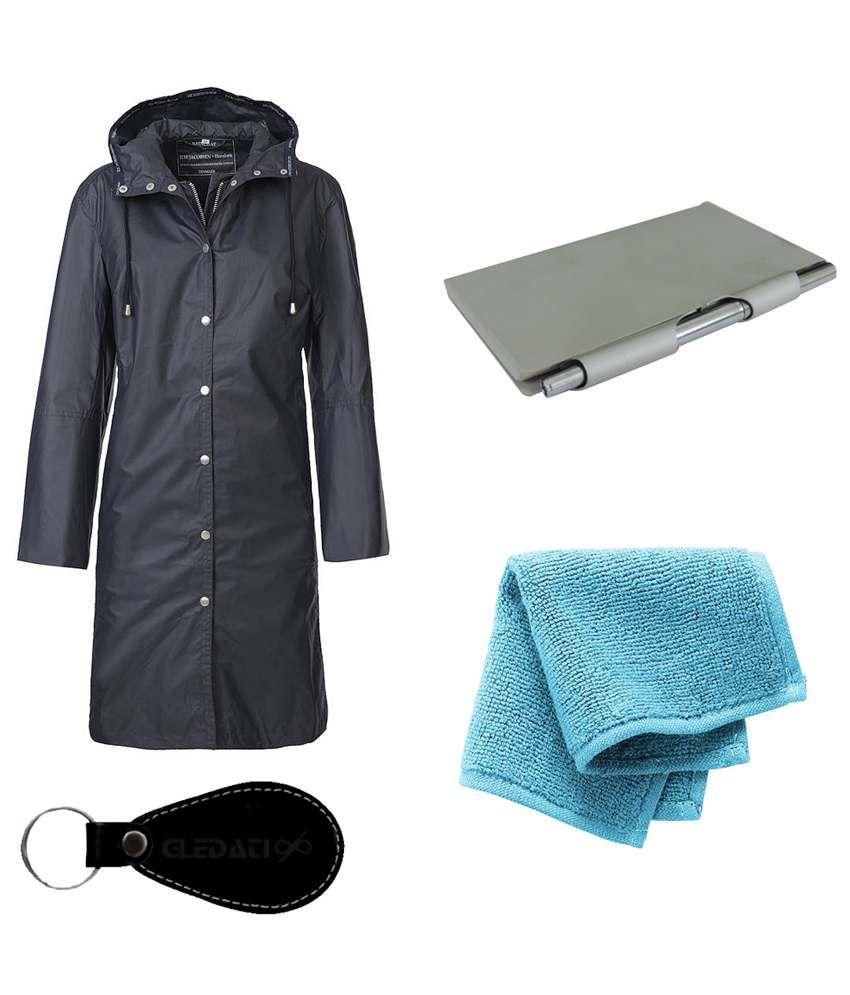 Gledati Black Polyester Combo Of Raincoat, Aluminium Case Pocket Diary & Towel Handkerchief