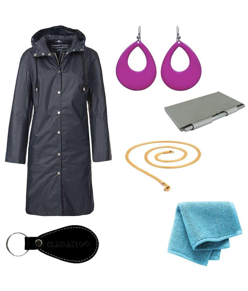 Gledati Black Polyester Combo Of Raincoat, Towel Handkerchief, Aluminium Case Pocket Diary, Gold Plated Chain & Dangler Earring