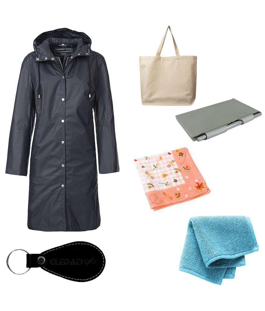 Gledati Black Polyester Combo Of Raincoat, Towel Handkerchief, Aluminium Case Pocket Diary, Handkerchief & Ladies Hand Bag