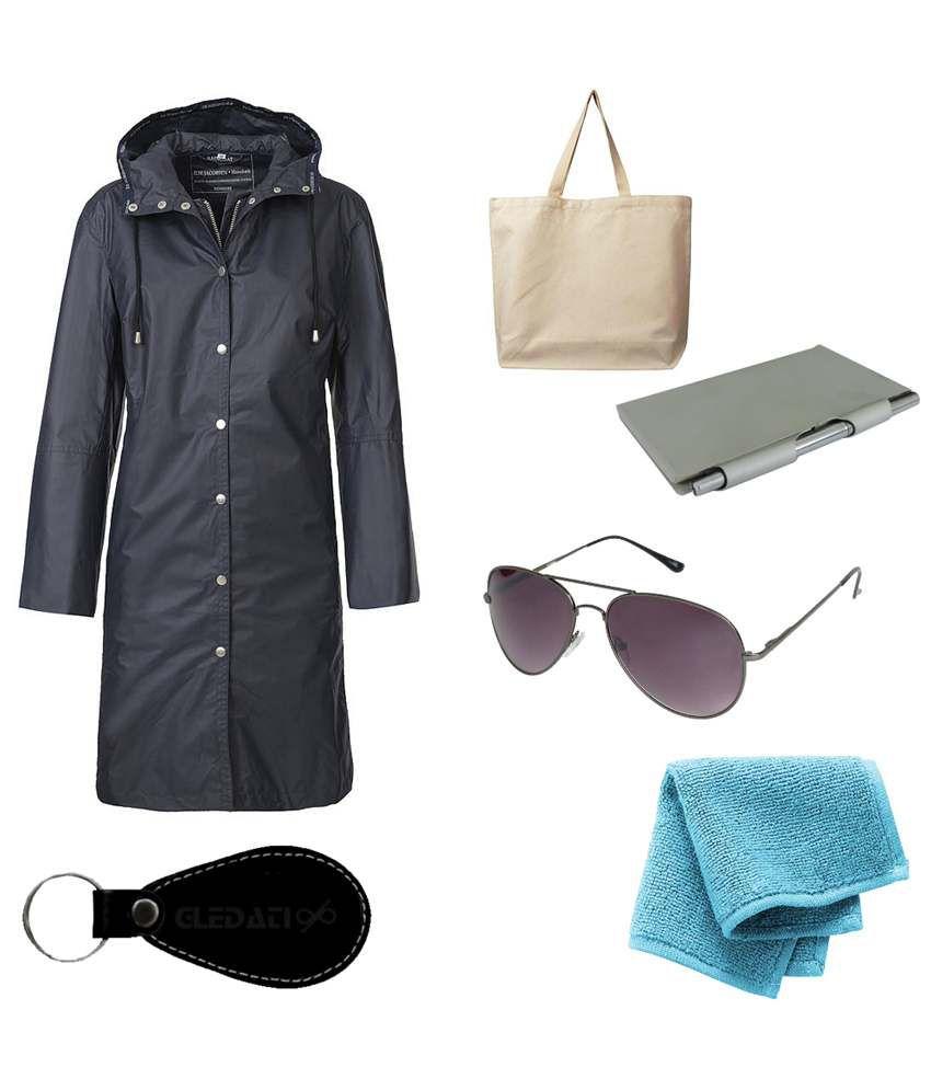 Gledati Black Polyester Combo Of Raincoat, Towel Handkerchief, Aluminium Case Pocket Diary, Sunglasses & Ladies Hand Bag