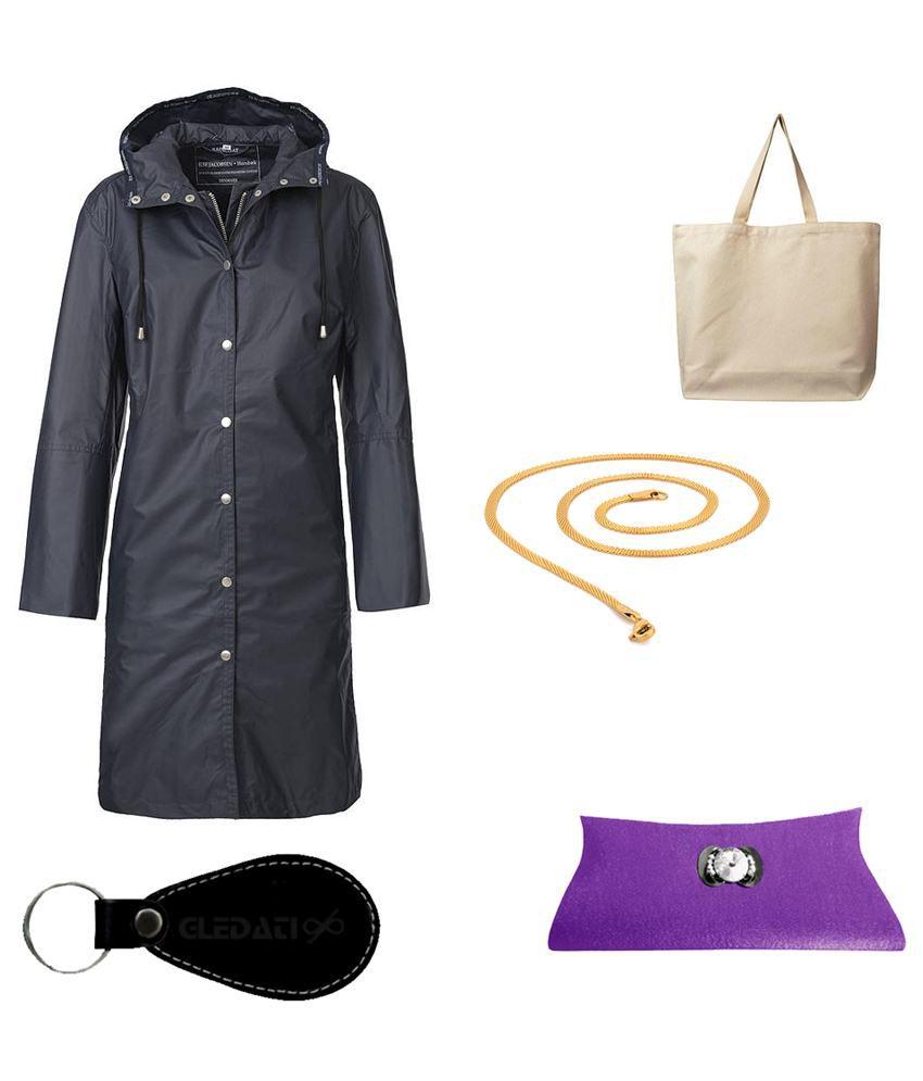 Gledati Black Polyester Combo Of Raincoat, Clutch, Gold Plated Chain & Ladies Hand Bag