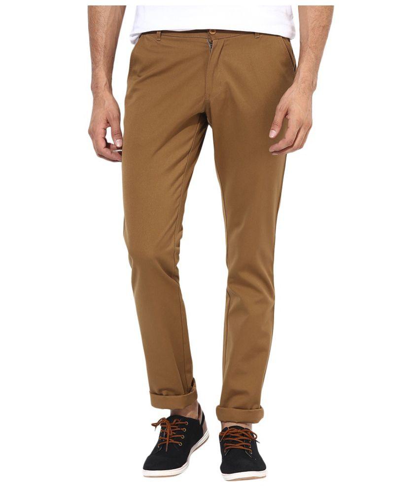 BUKKL  Slim Fit Brown Cotton Trouser for men