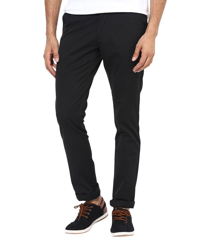 BUKKL  Slim Fit Black Cotton Trouser for men