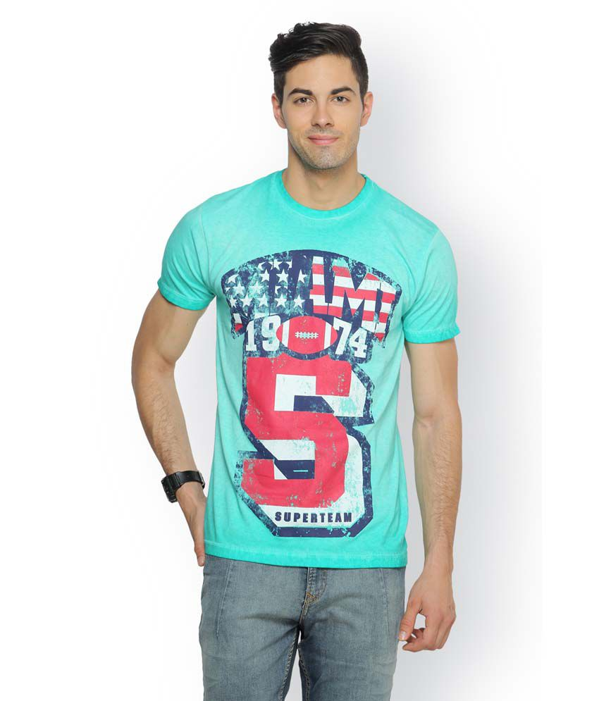 Ferrous Blue Cotton Round Neck Half Sleeve Printed T-Shirt