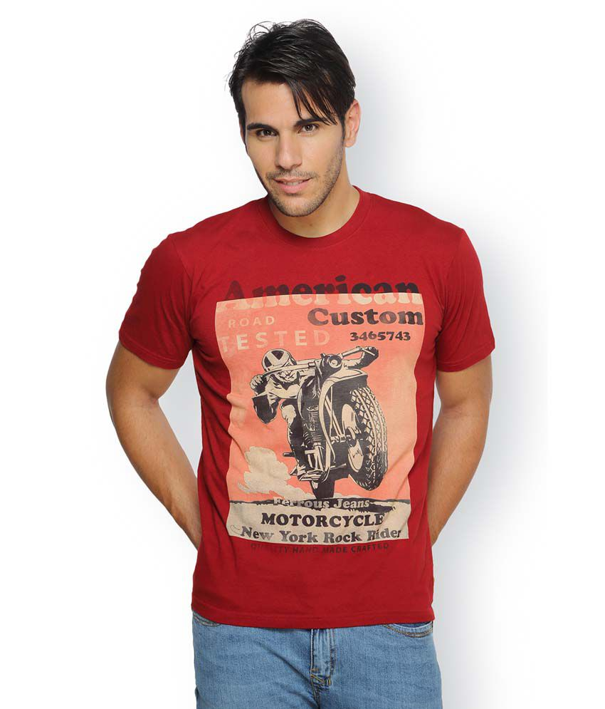 Ferrous Red Cotton Round Neck Half Sleeve Printed T-Shirt