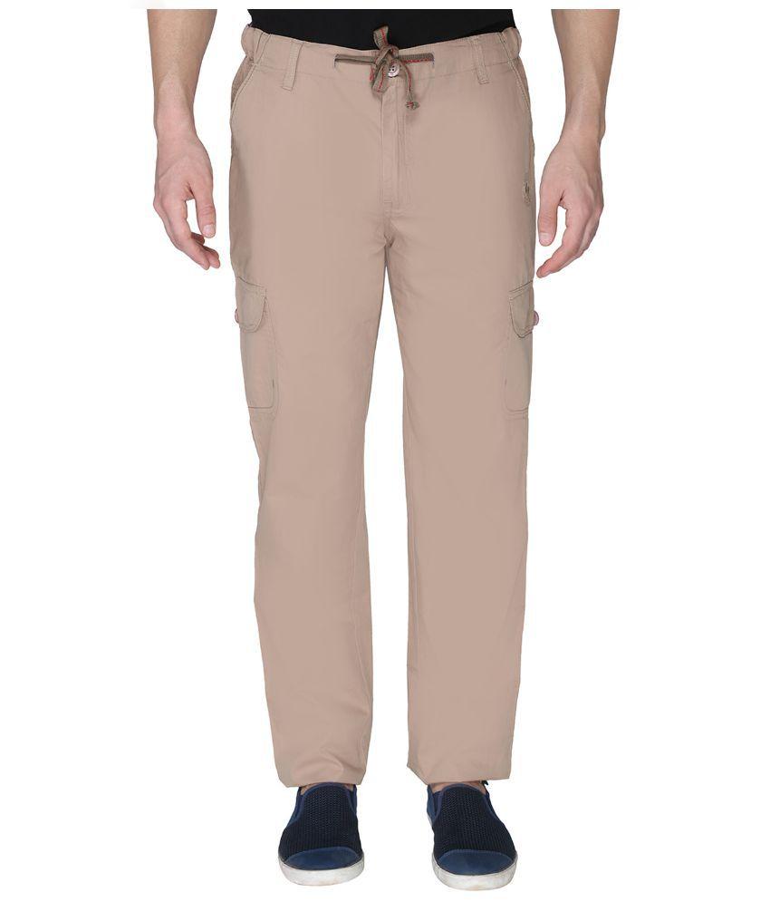 LD Active Khaki Cotton Casual Trouser For Men