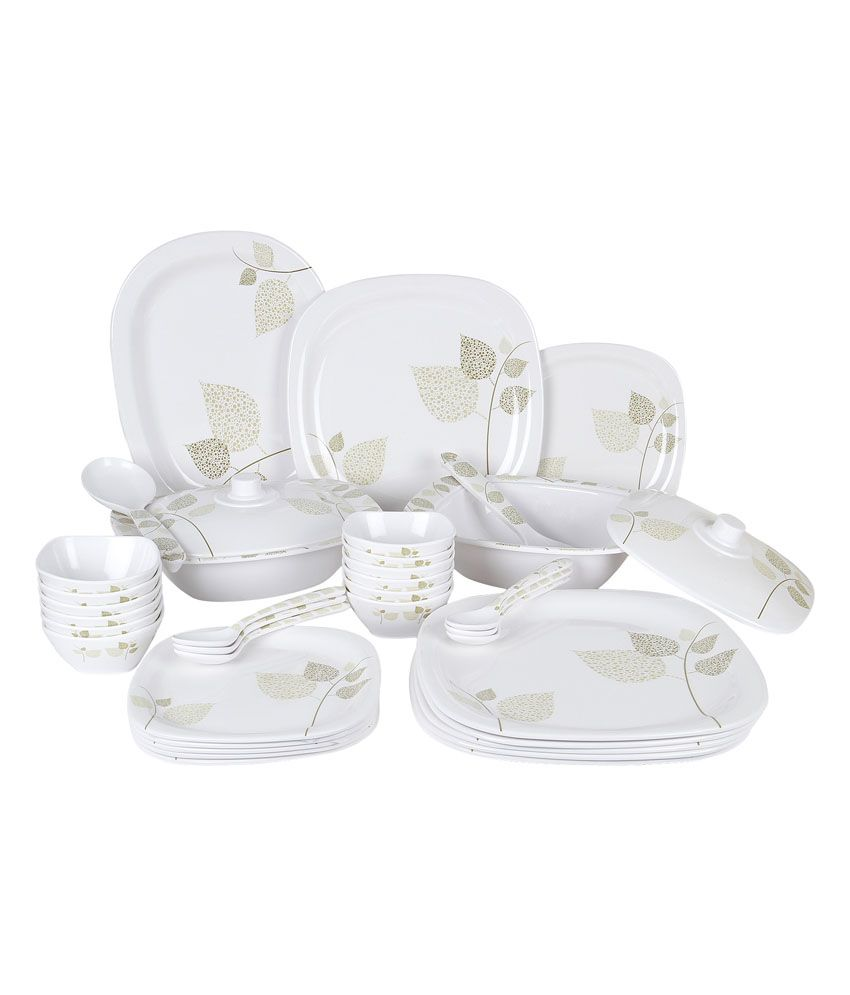 18fcaa3409a7 PCPL White Melamine Dinner Set 40 Pcs  Buy Online at Best Price in India -  Snapdeal