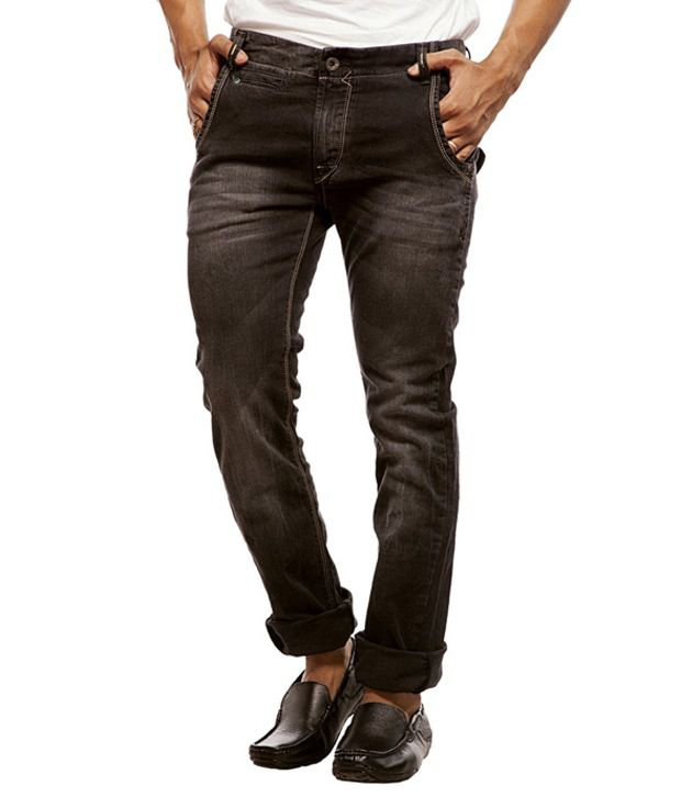 Spykar Black Cotton Regular Fit Jeans