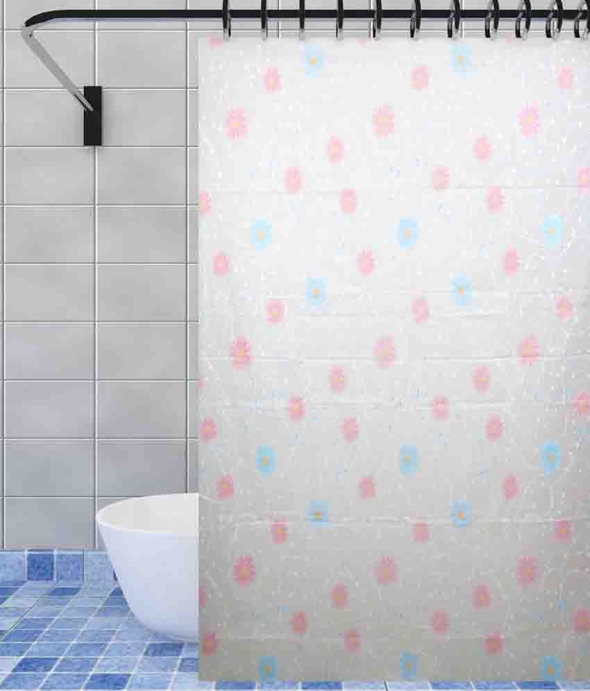 Home Candy White Blended Floral Shower Curtain