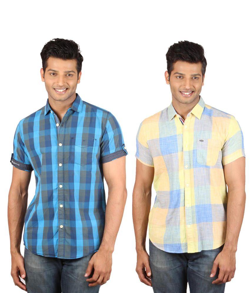 Meltin Blue And Yellow Cotton Shirts (Combo Of 2)