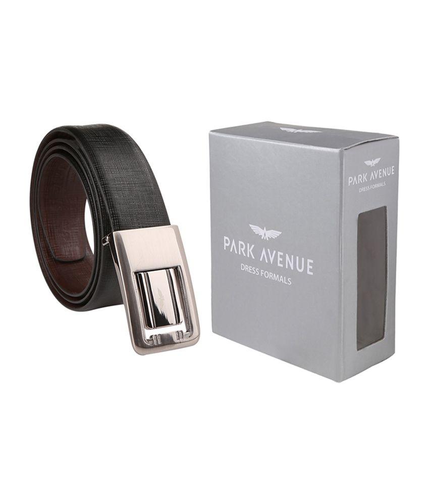 Park Avenue Classic Black Leather Autolock Buckle Belt