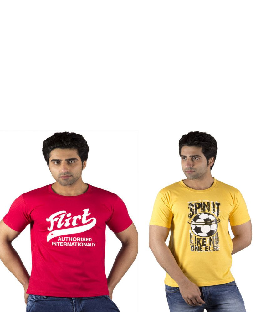 Schonheits Combo of Pink And Yellow Blended Cotton T-shirts