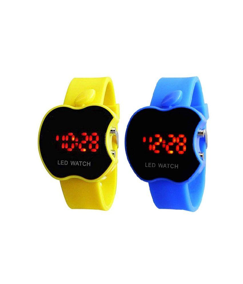 Swissrock Apple Shape Led Touch Screen Yellow&blue Digital Watch