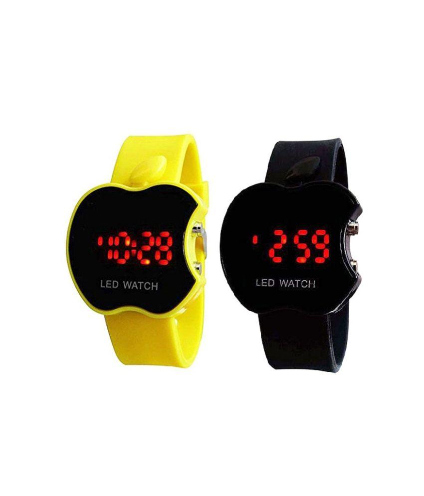 Swissrock Apple Shape Led Touch Screen Yellow&black Digital Watch