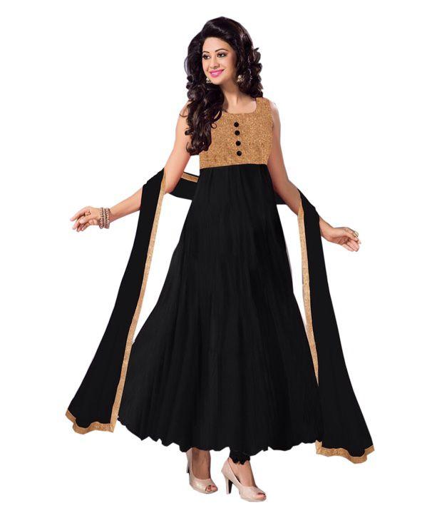 Bipolar Life Black Georgette Anarkali Unstitched Dress Material