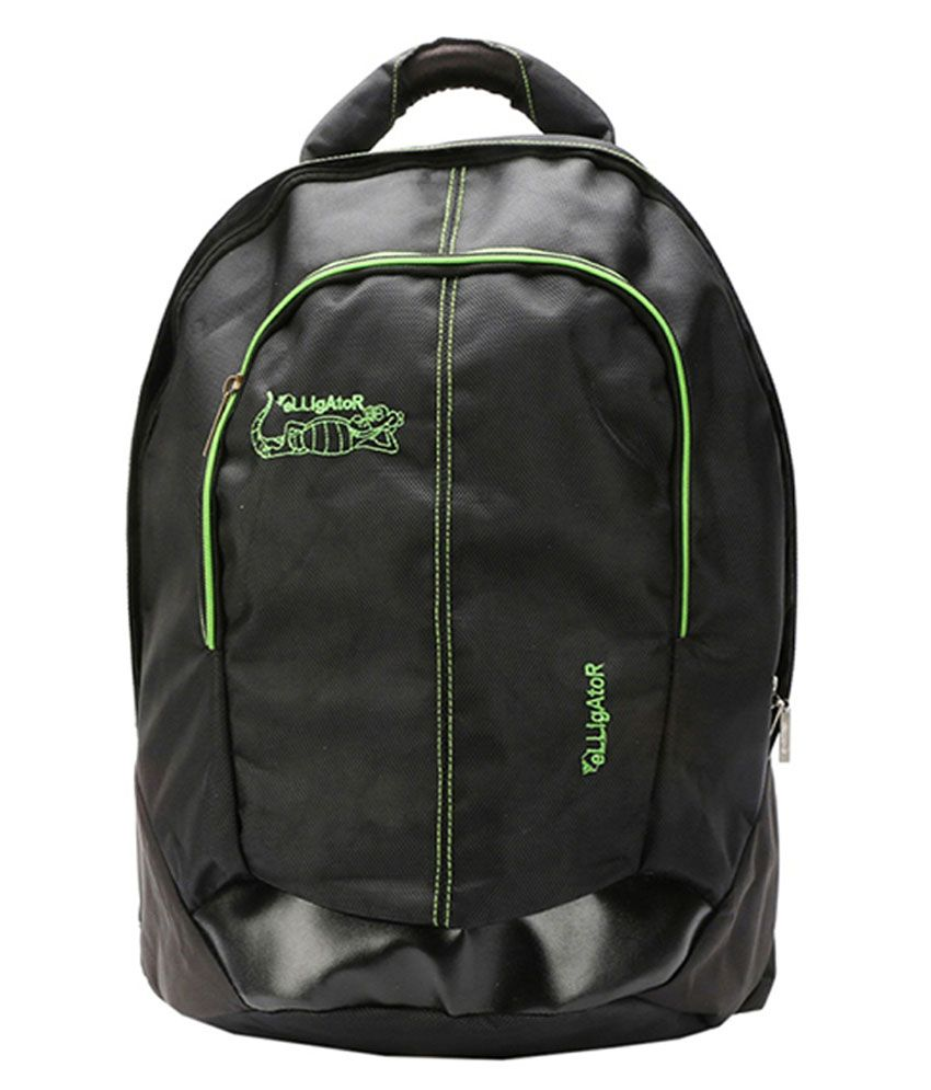 Elligator Black and Green Polyester Laptop Bag