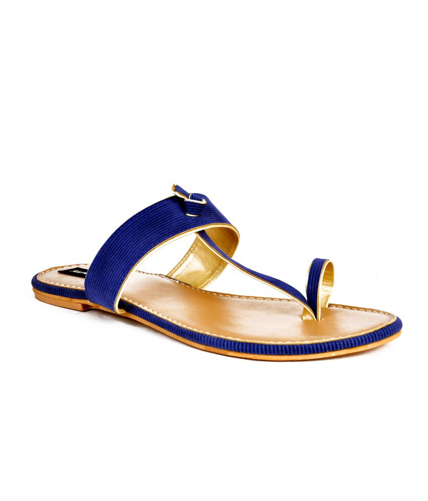 Marie Comfort Blue Faux Leather Flat Women Sandal