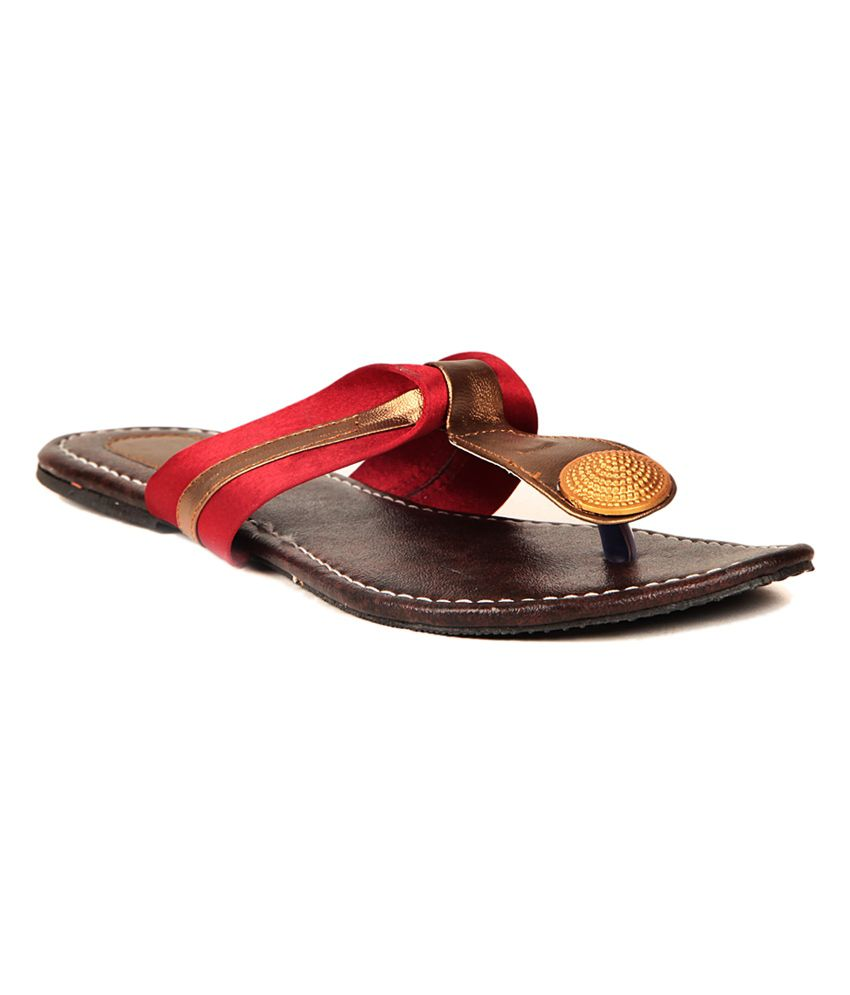 Pandora Red Faux Leather Daily Wear Slip-on